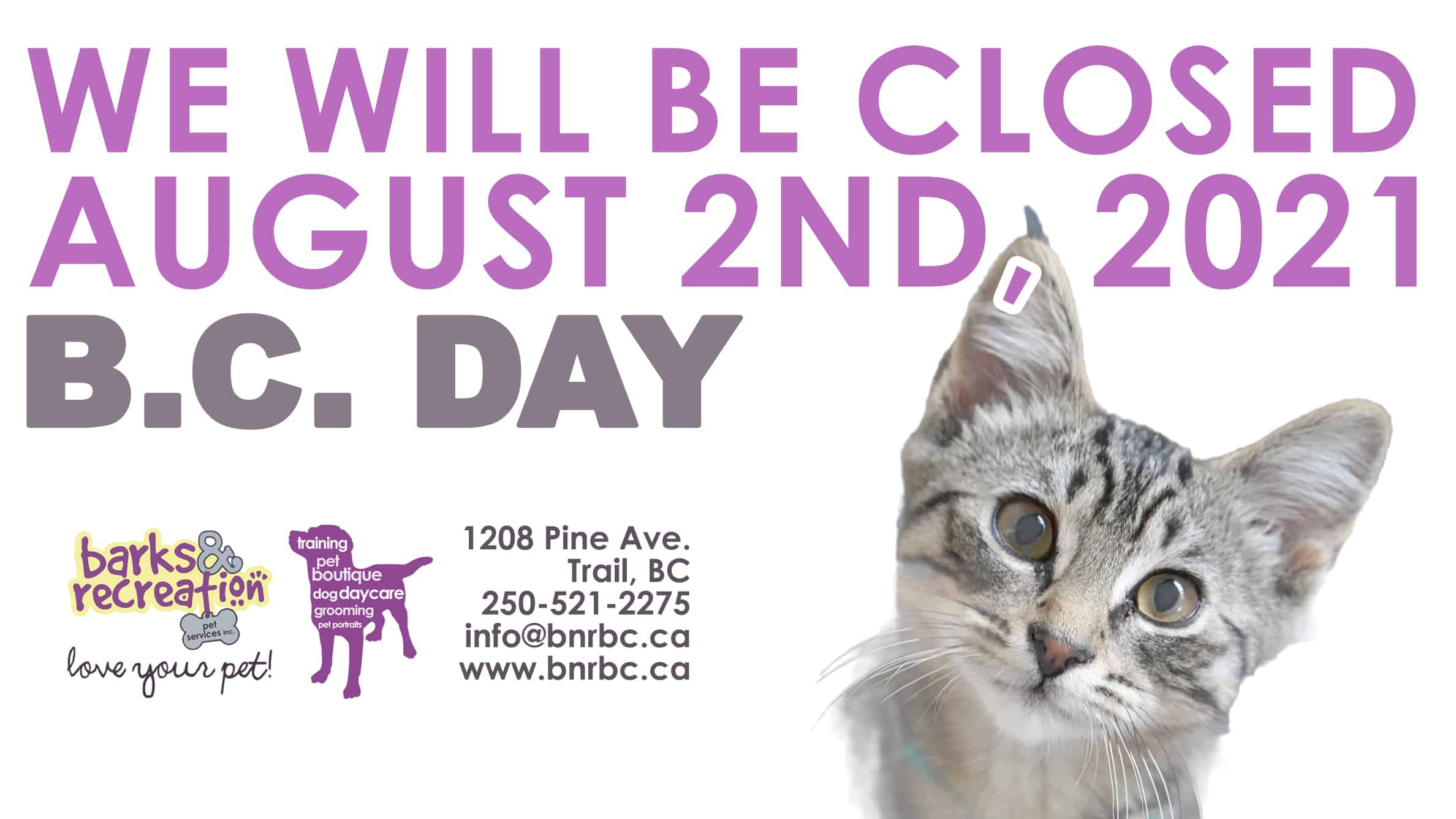 Barks and Recreation Closed on B.C. Day